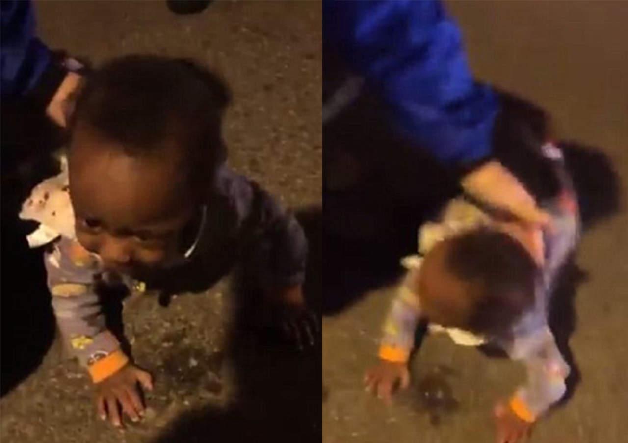 Encuentran a bebé 'gateando' en plena carretera