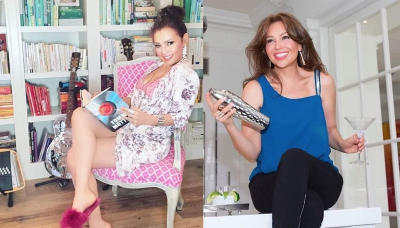 Le llueven las criticas a Thalía por fotografía en pijama