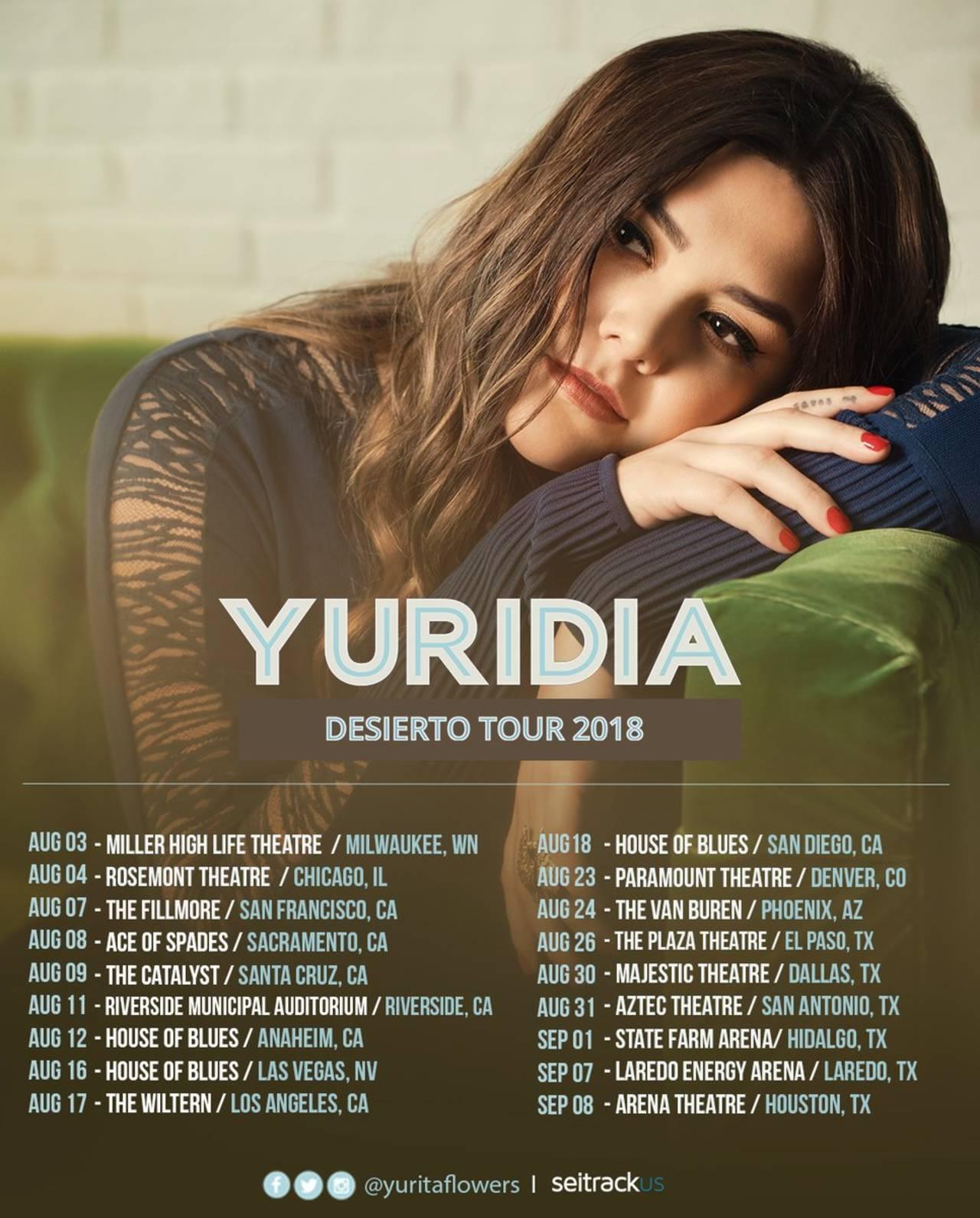 Yuridia traerá a Torreón su gira Desierto