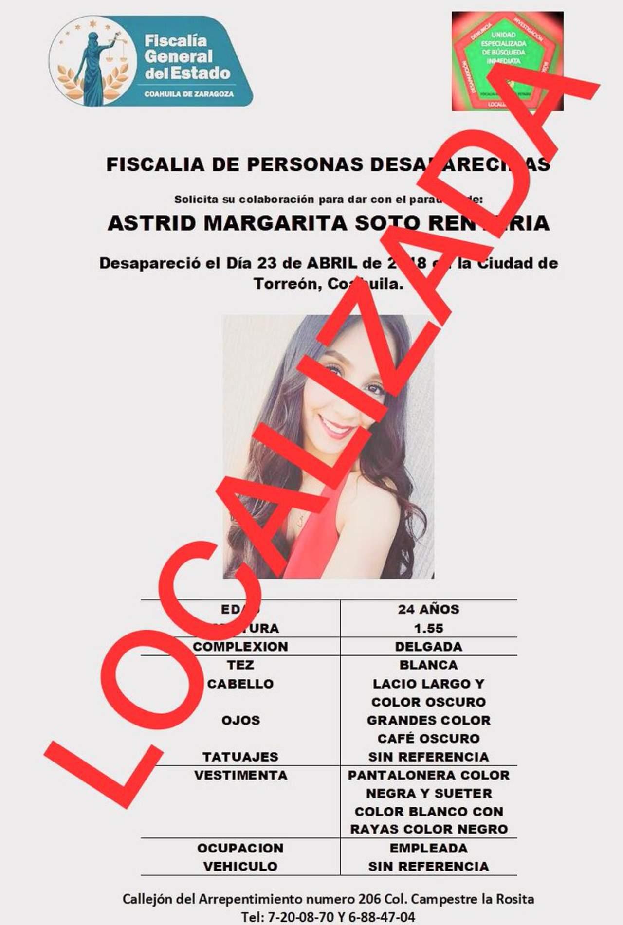 Encuentran a joven reportada como desaparecida en carretera Torreón-SP