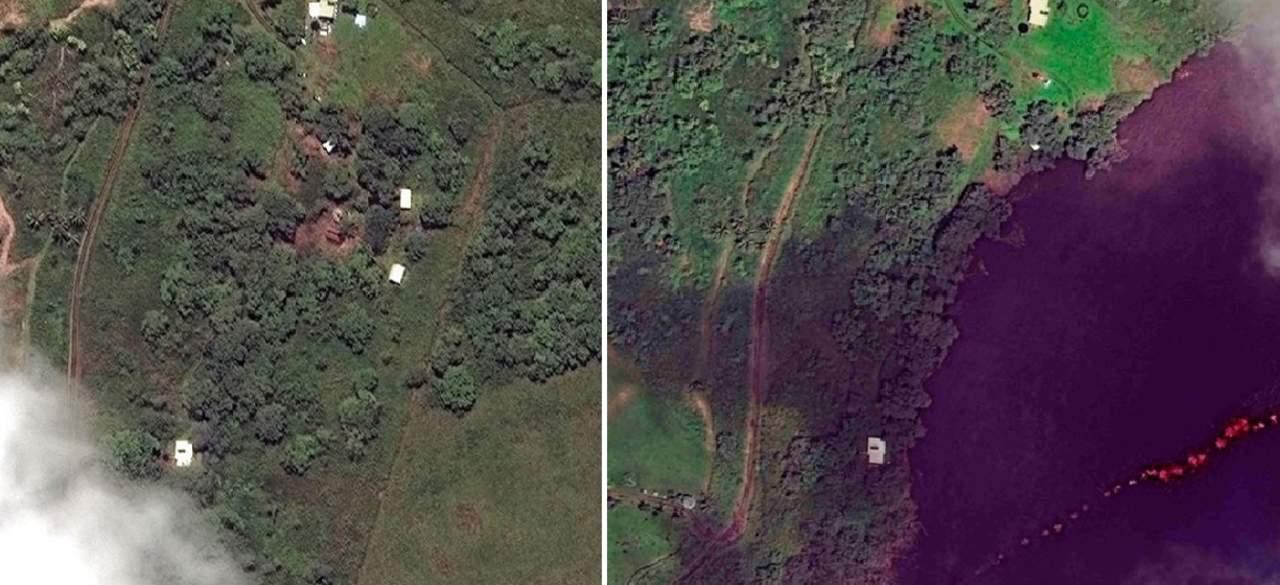 El antes y después tras la erupción del Kilauea en Hawái