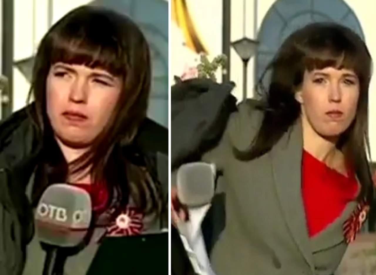 Reportera se lleva una sorpresa por no estar lista para salir al aire