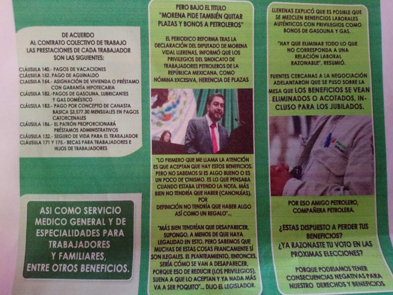 Es falso que carteles que promueven votar por Morena se distribuyan en la refinería de Tula