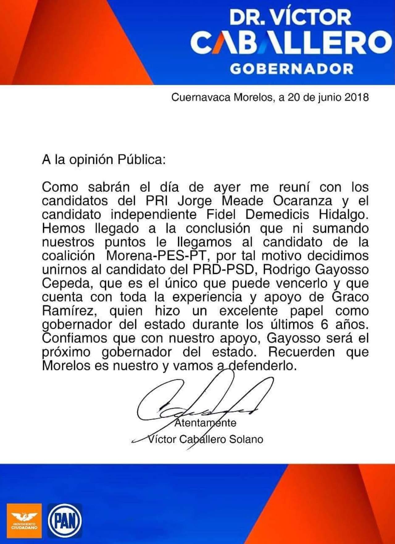 Candidatos del PAN, PRI e independiente de Morelos no declinarán por Rodrigo Gayosso