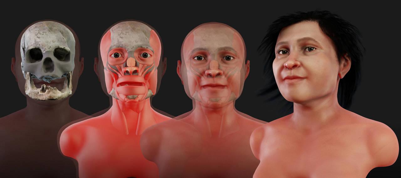 Mujer prehistórica recupera su rostro
