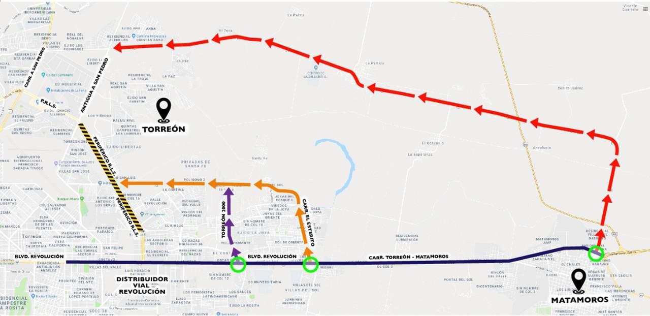 Dan rutas alternas al tránsito pesado en Periférico de Torreón