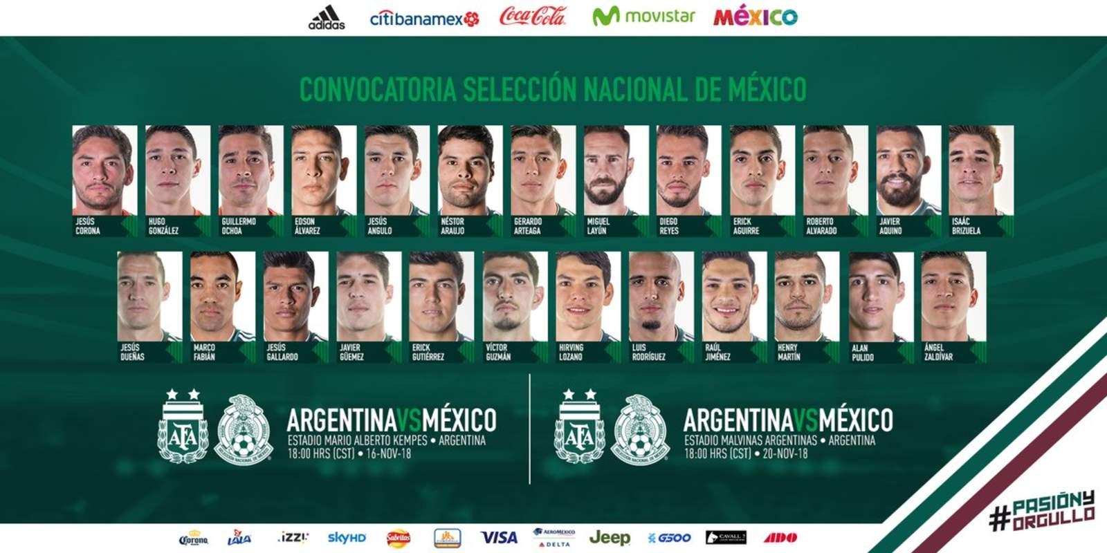 Dos Guerreros en convocatoria del Tri ante Argentina