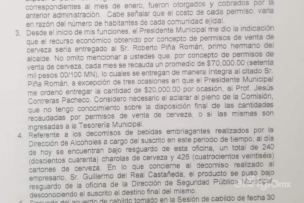 Director de Alcoholes dice que el propio alcalde, Horacio Piña, le pidió dar el dinero de venta de permisos de cerveza a su primo. (EL SIGLO DE TORREÓN)