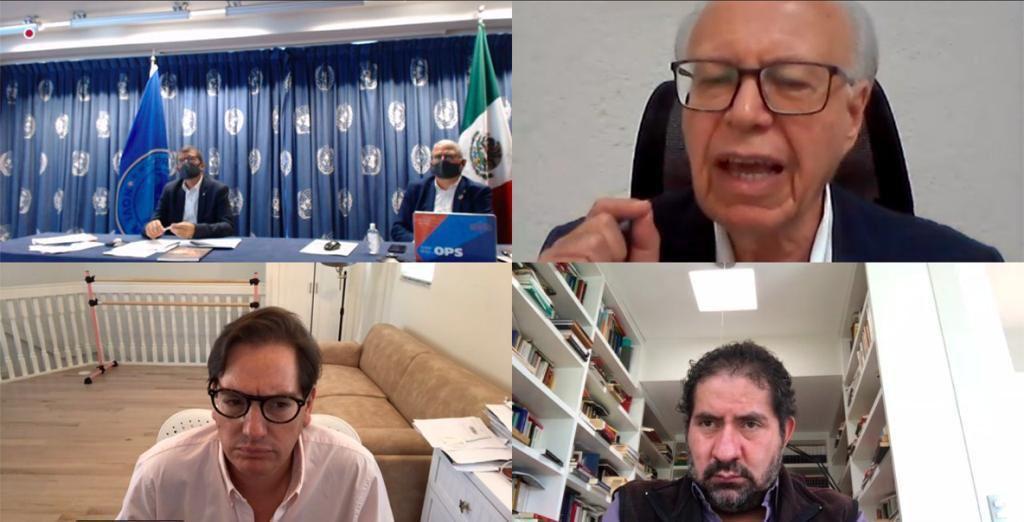 El representante de la Organización Panamericana de la Salud y de la Organización Mundial de la Salud (OMS) en México, Cristian Morales Fuhrimann, y el asesor Internacional en Emergencias en Salud, Jean-Marc Gabastou, recibieron formalmente el documento