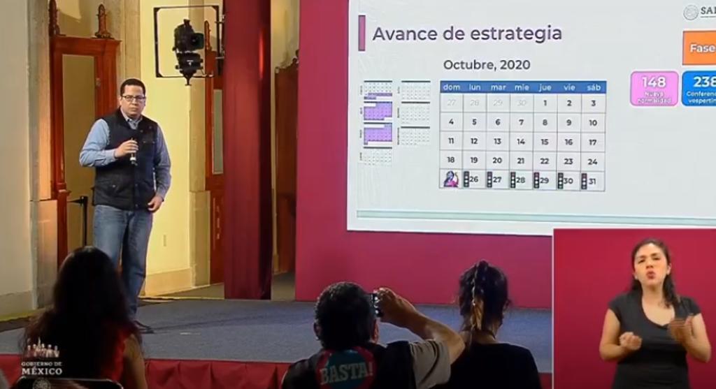 Las autoridades federales de Salud ofrecieron la conferencia de prensa diaria para informar a la población sobre la pandemia de la enfermedad COVID-19, causada por el coronavirus SARS-CoV-2, en México. (ARCHIVO)