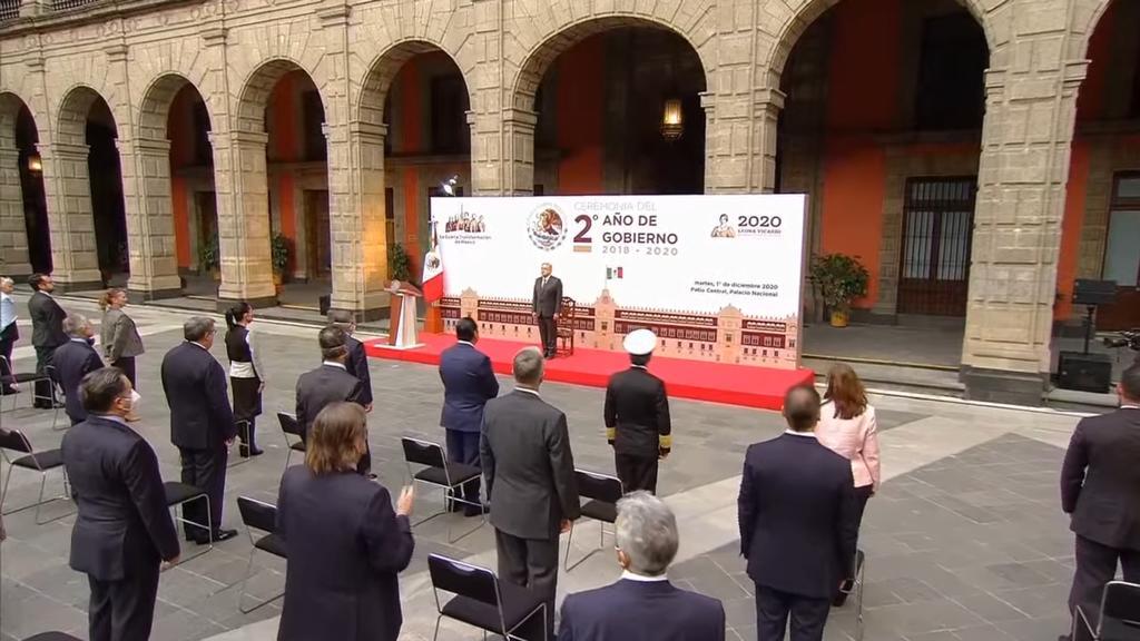 El presidente Andrés Manuel López Obrador llevó a cabo una ceremonia para conmemorar su toma de posesión a dos años de llegar al cargo.(ESPECIAL)