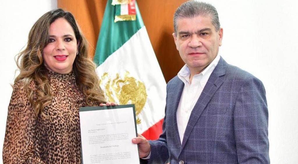 El gobernador de Coahuila, Miguel Ángel Riquelme Solís, designó a Nazira Zogbi Castro como secretaria del Trabajo en la entidad. (TWITTER)