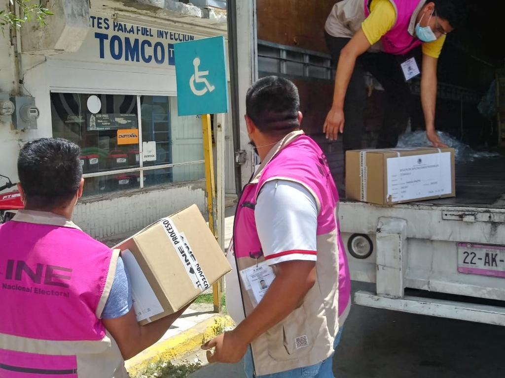 El Distrito 02 del Instituto Nacional Electoral (INE), con cabecera en el municipio de San Pedro recibió la documentación para la jornada electoral de este 6 de junio. (EL SIGLO DE TORREÓN)