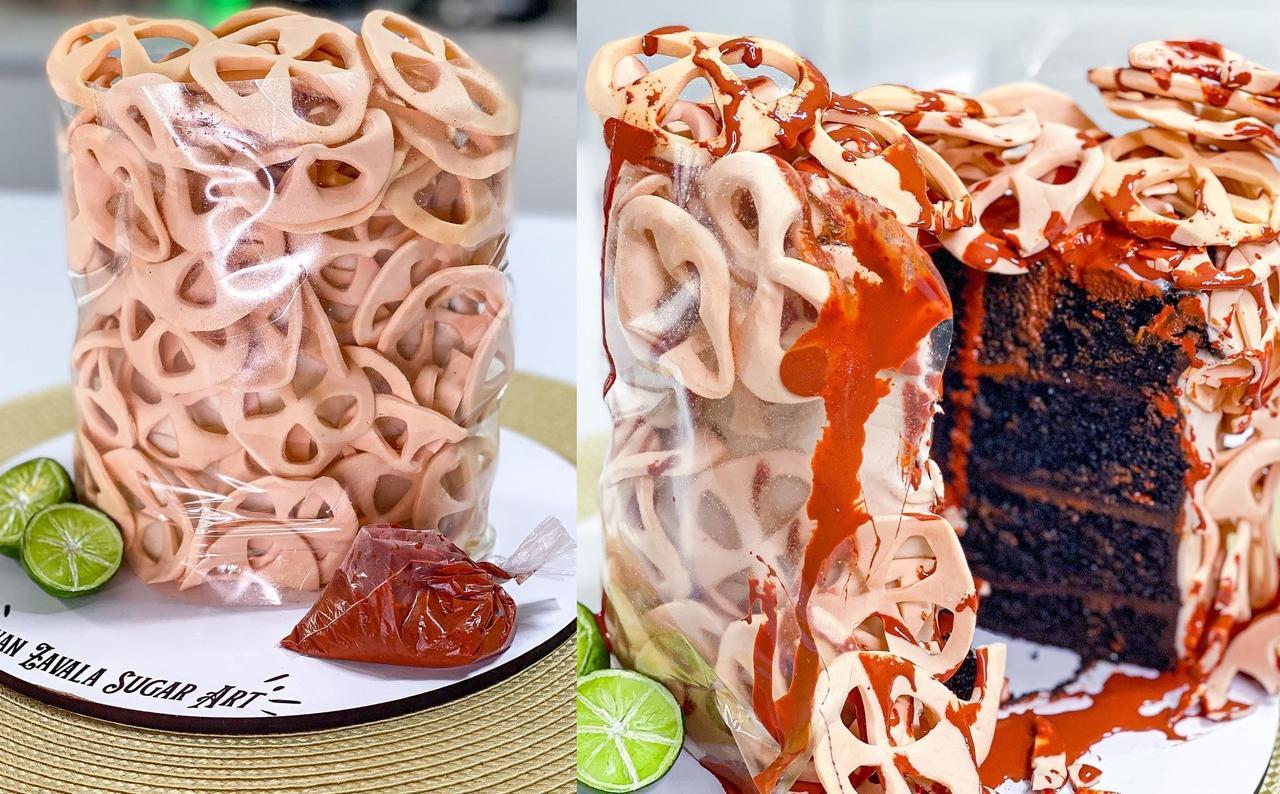 A través de su perfil en Facebook, el experto compartió el proceso que siguió para elaborar el pastel de frituras (CAPTURA)