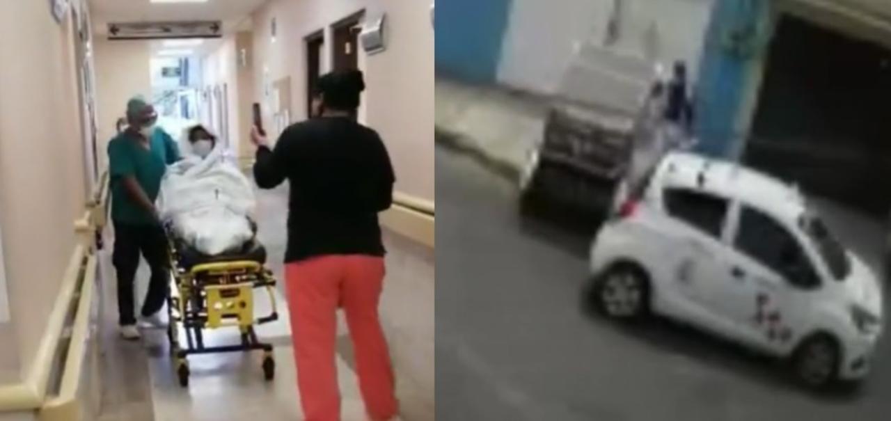 La joven que denunció al supuesto enfermero, adjuntó un video en el que se ve al sospechoso llevarse el tanque de oxígeno (CAPTURA)